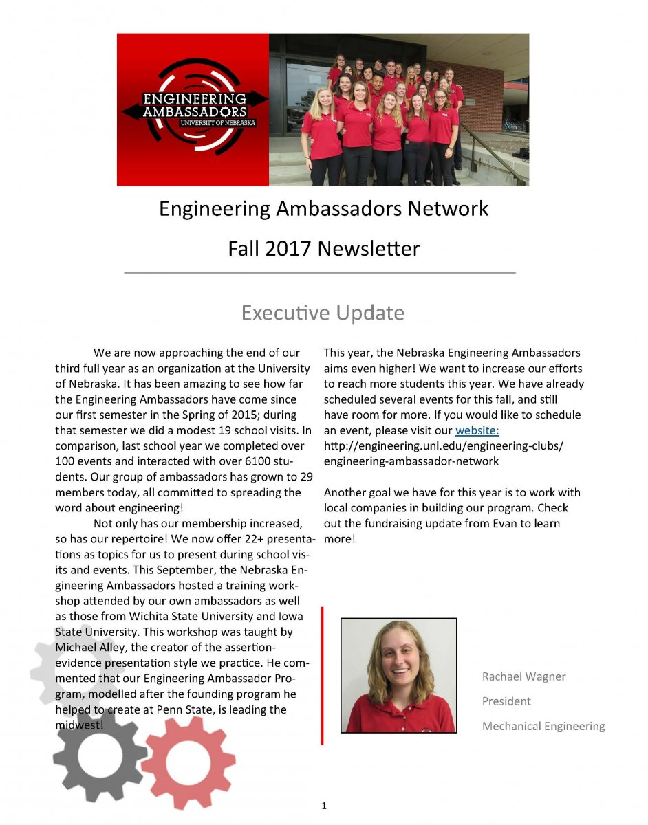Engineering Ambassadors Network Newsletter Cover - Fall 2017