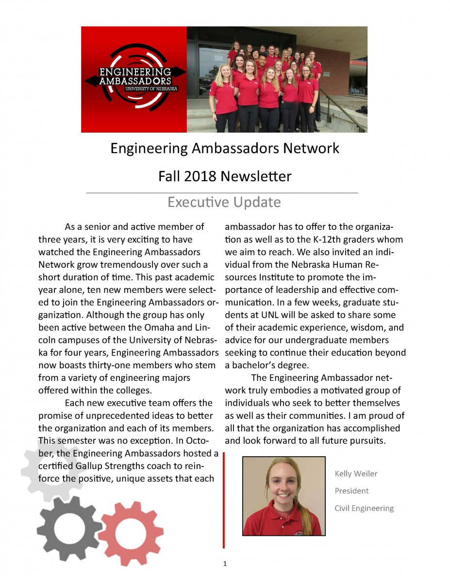 Engineering Ambassadors Network Newsletter Cover - Fall 2018