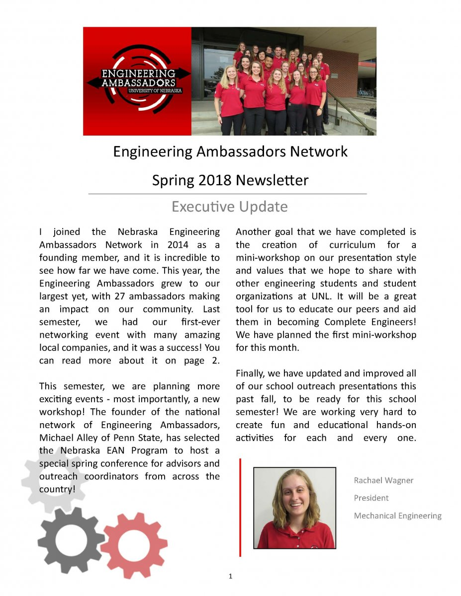 Engineering Ambassadors Network Newsletter Cover - Spring 2018