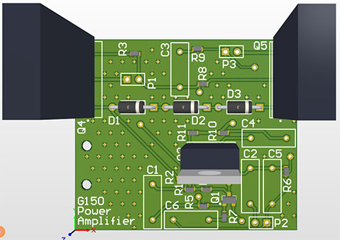Circuit board image of the Solid State Stereo Amplifier