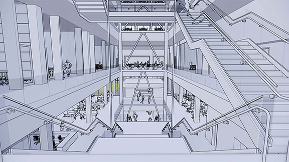 Rendering of Atrium in the new Kiewit Hall