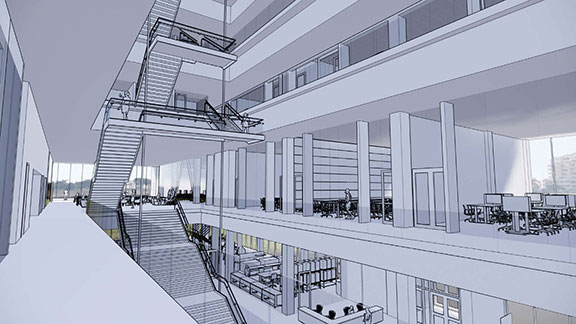 Rendering of Atrium from the 2nd floor of the new Kiewit Hall