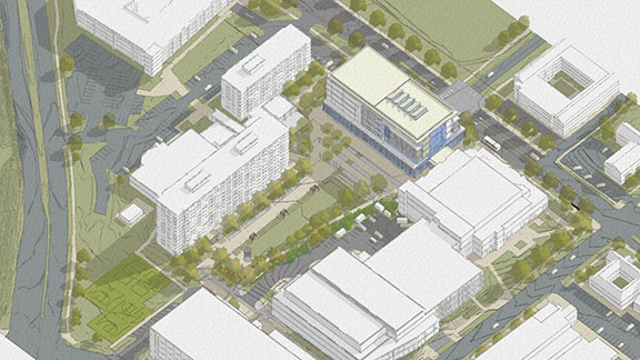 Rendering of an aerial view of the future Engineering Quad of buildings