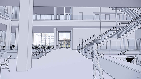 Rendering of an interior view of the main entrance of the new Kiewit Hall