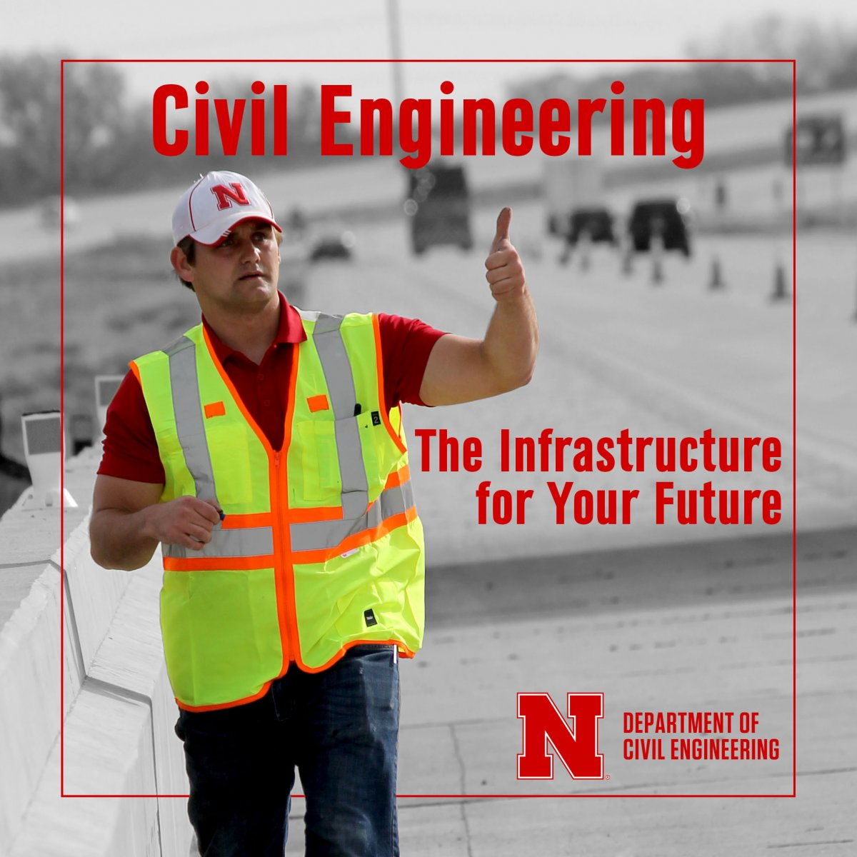 Nebraska Student gives thumbs up during I-80 bridge inspection.
