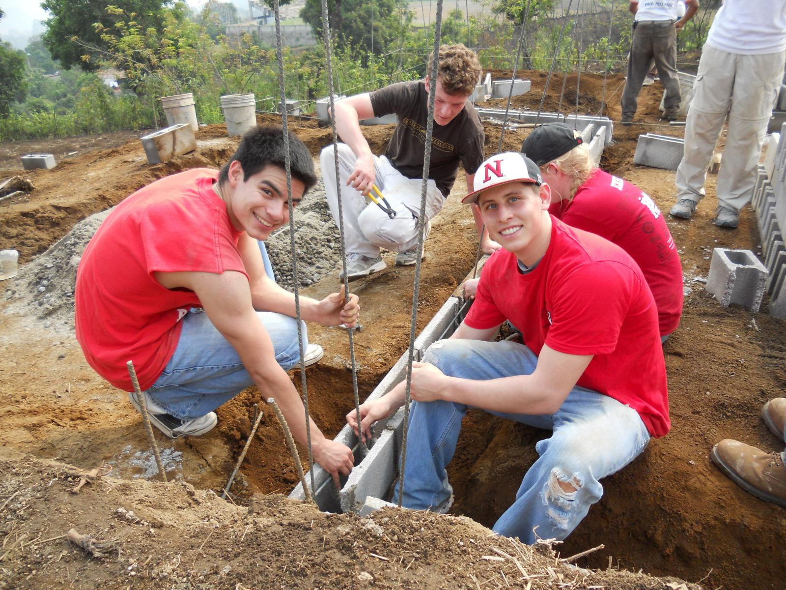 students digging in Madagascar
