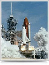 Space shuttling launching.