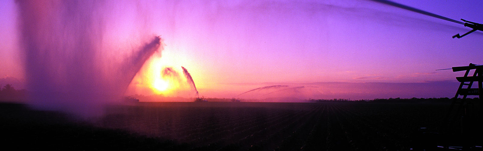 Center pivot system spraying water on a field at sunset.