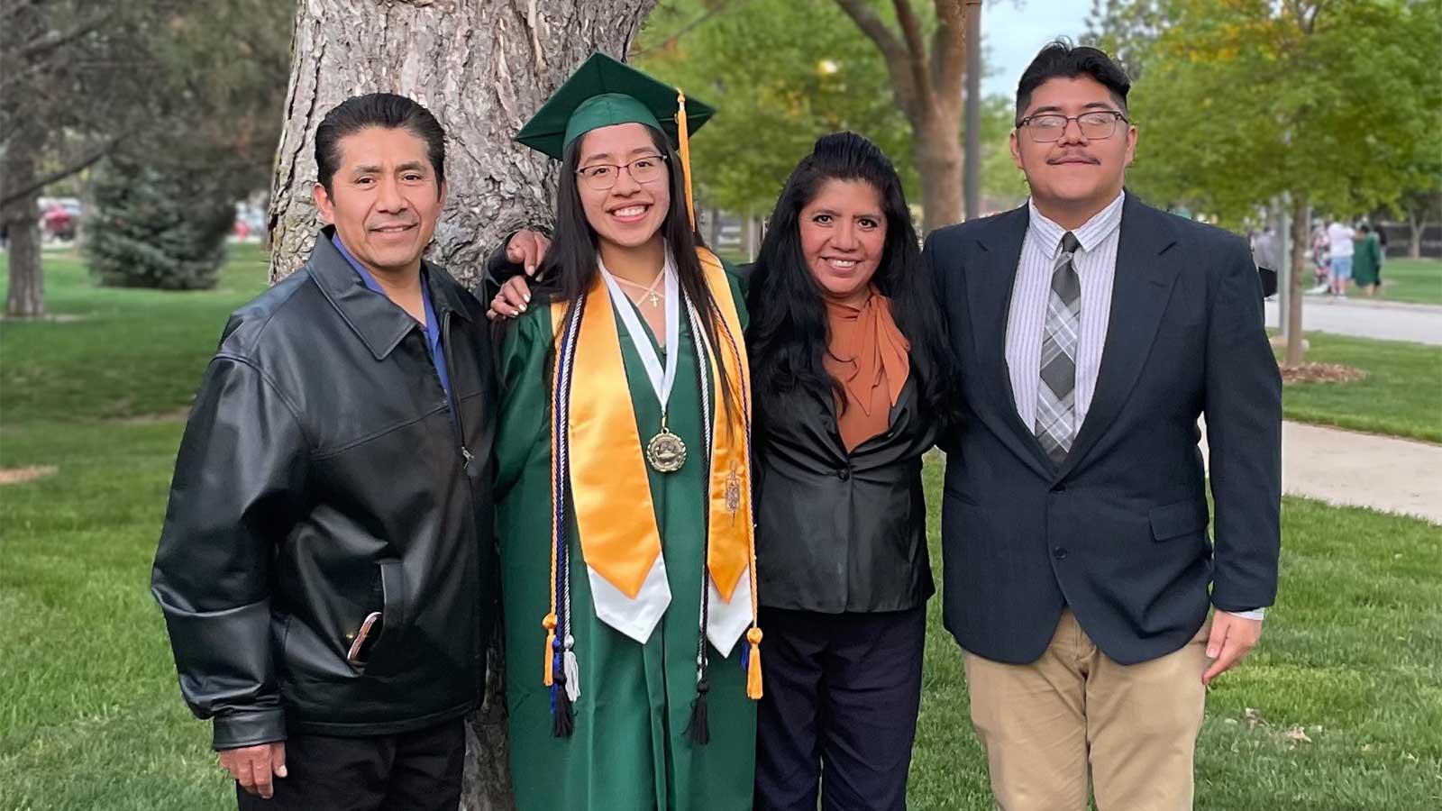 Alexis taking a family photo.