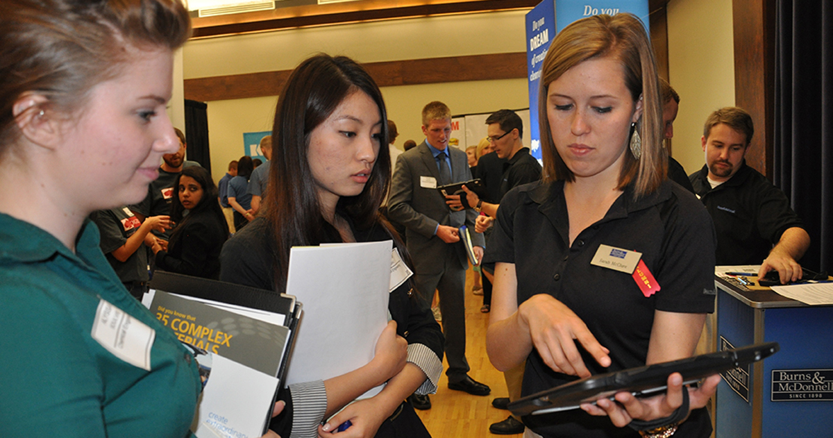 Career Fair students and employer