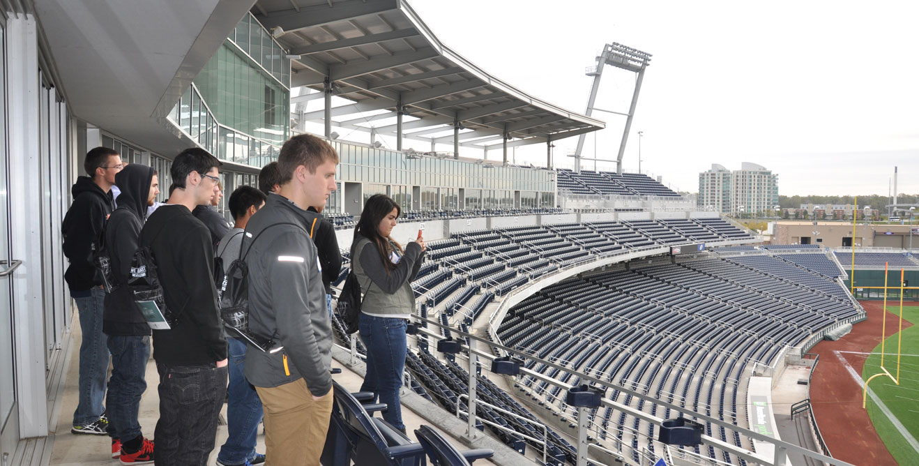 2014 Fall Trip - Students getting a tour of TD Ameritrade Baseball Park in downtown Omaha