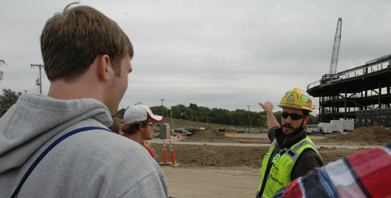 2014 Fall Trip - Students on a tour of a construction site in Omaha
