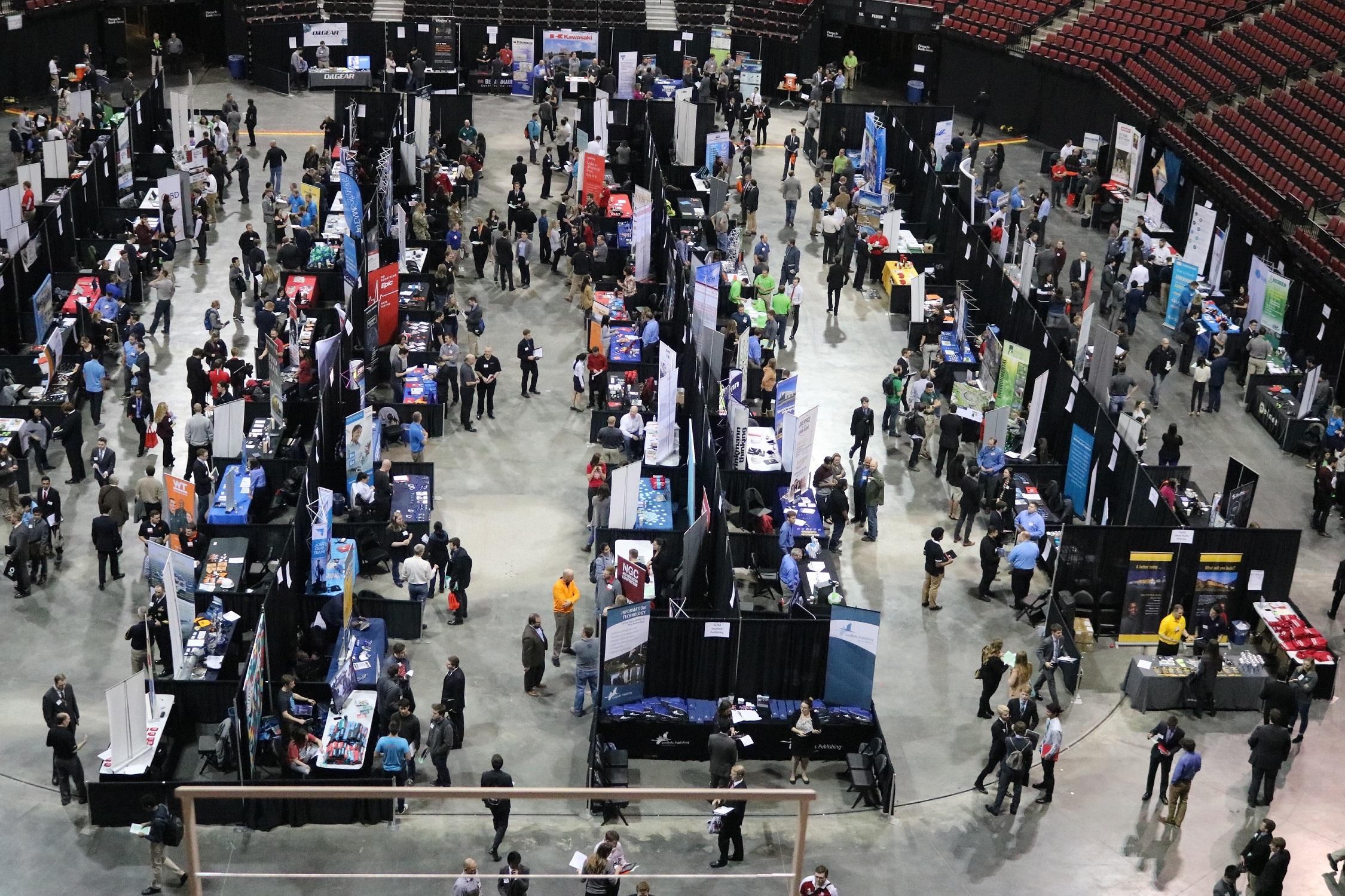 Career fair top view from Pinnacle Bank Arena