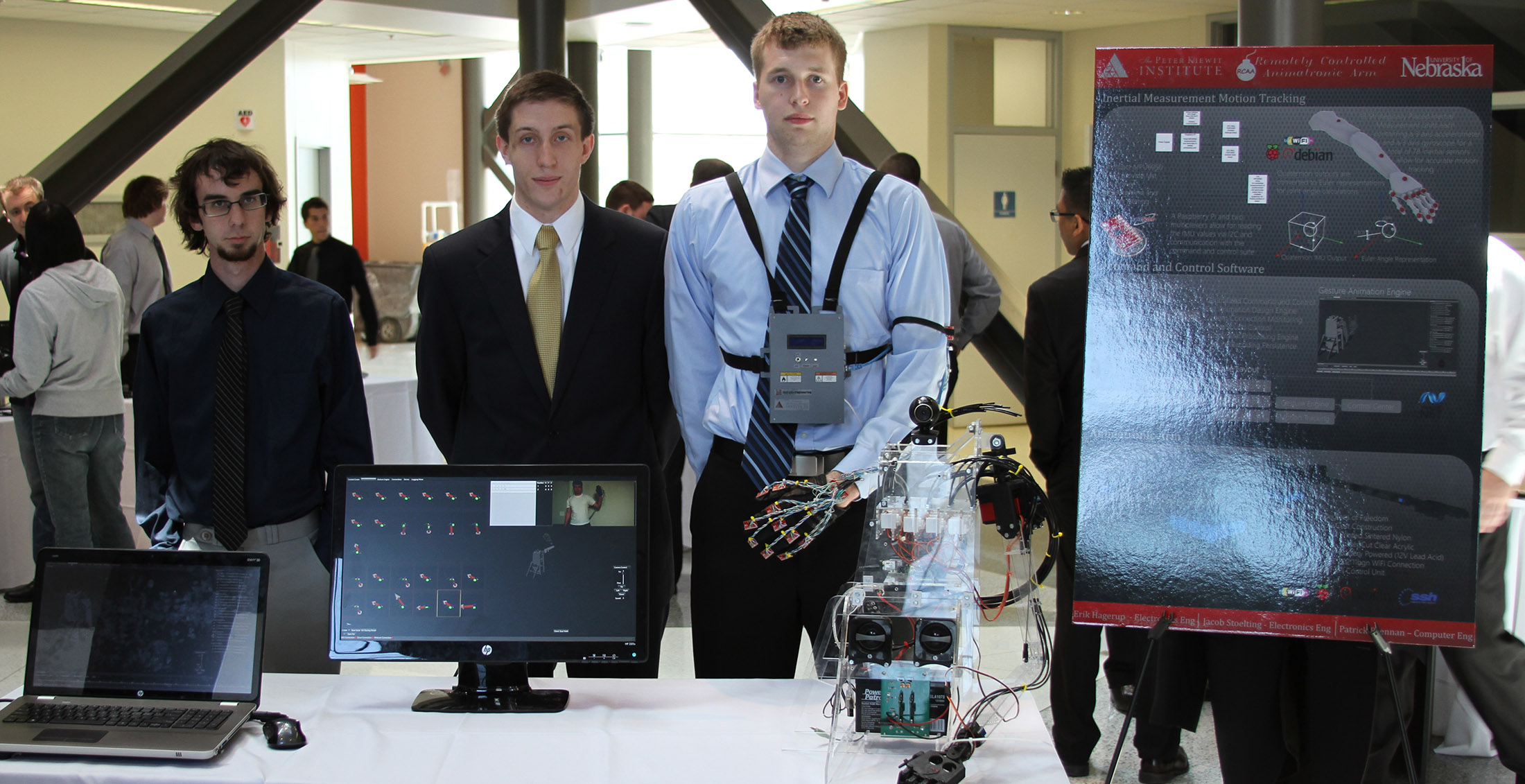 students with senior project - robotic hand