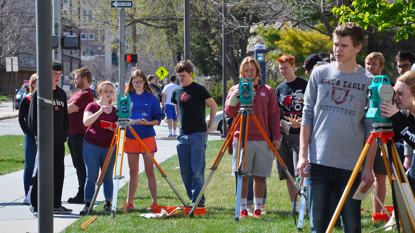 Surveying outside Othmer Hall