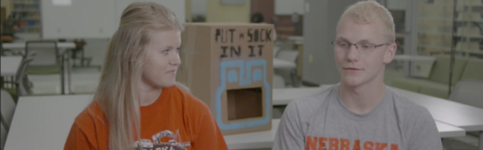 Engineering students Sarah Porath and Taylor Sundermann discuss the charity they created, Put a Sock In It.