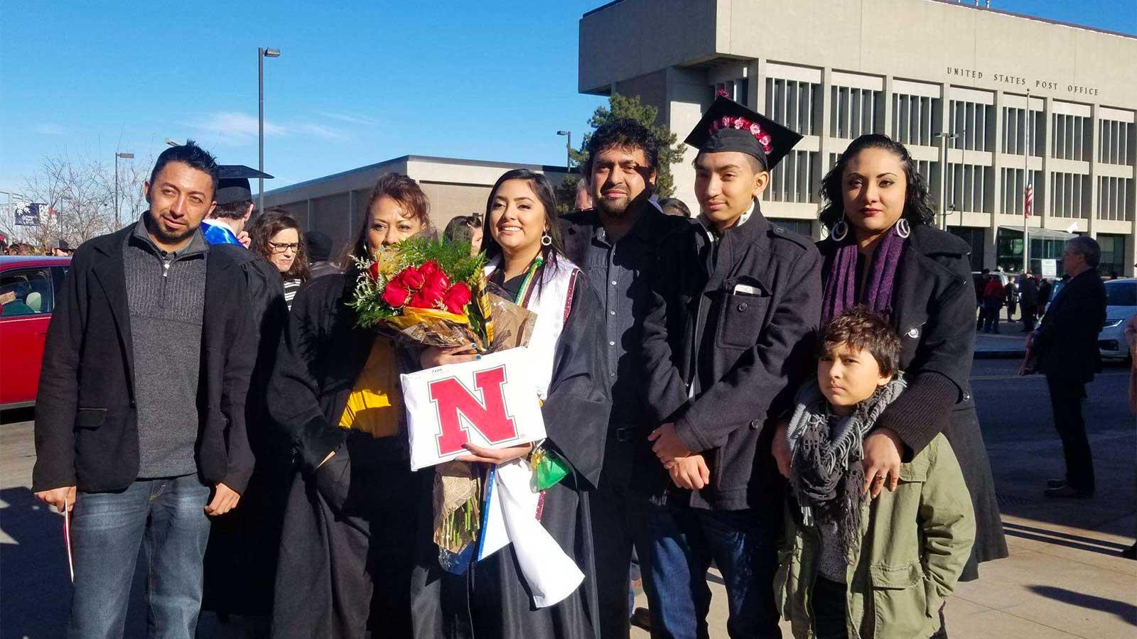 Yajaira graduating from UNL alongside her family.