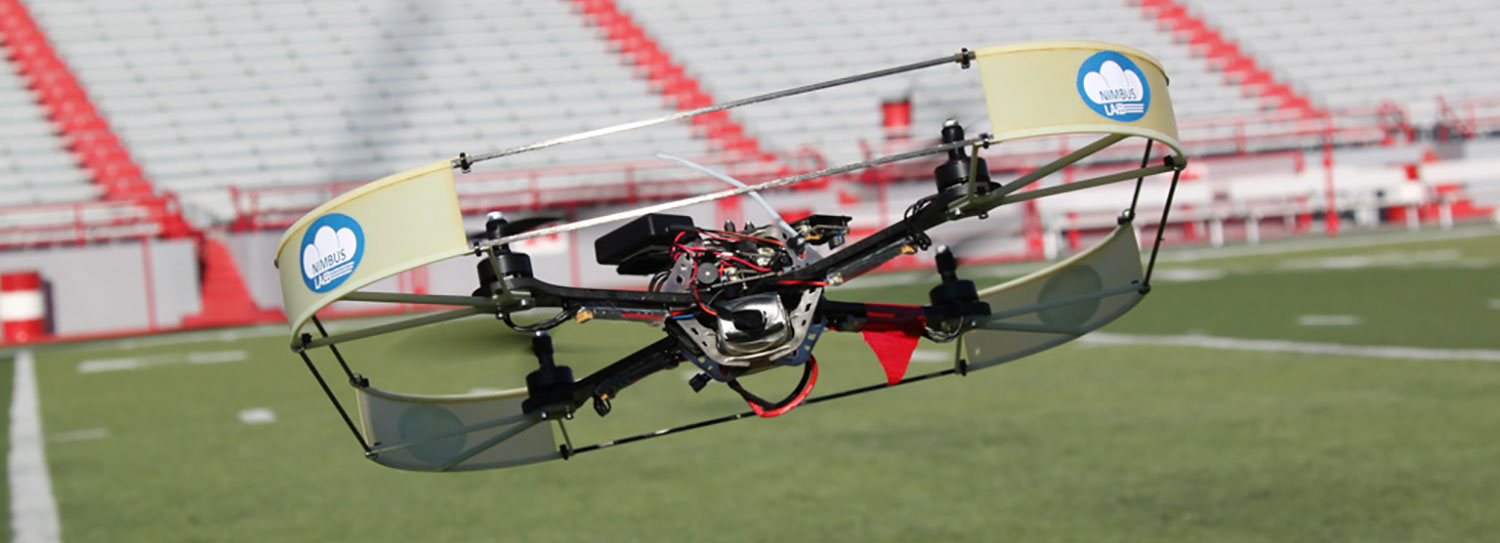 Image of UAV taking off inside Memorial Stadium