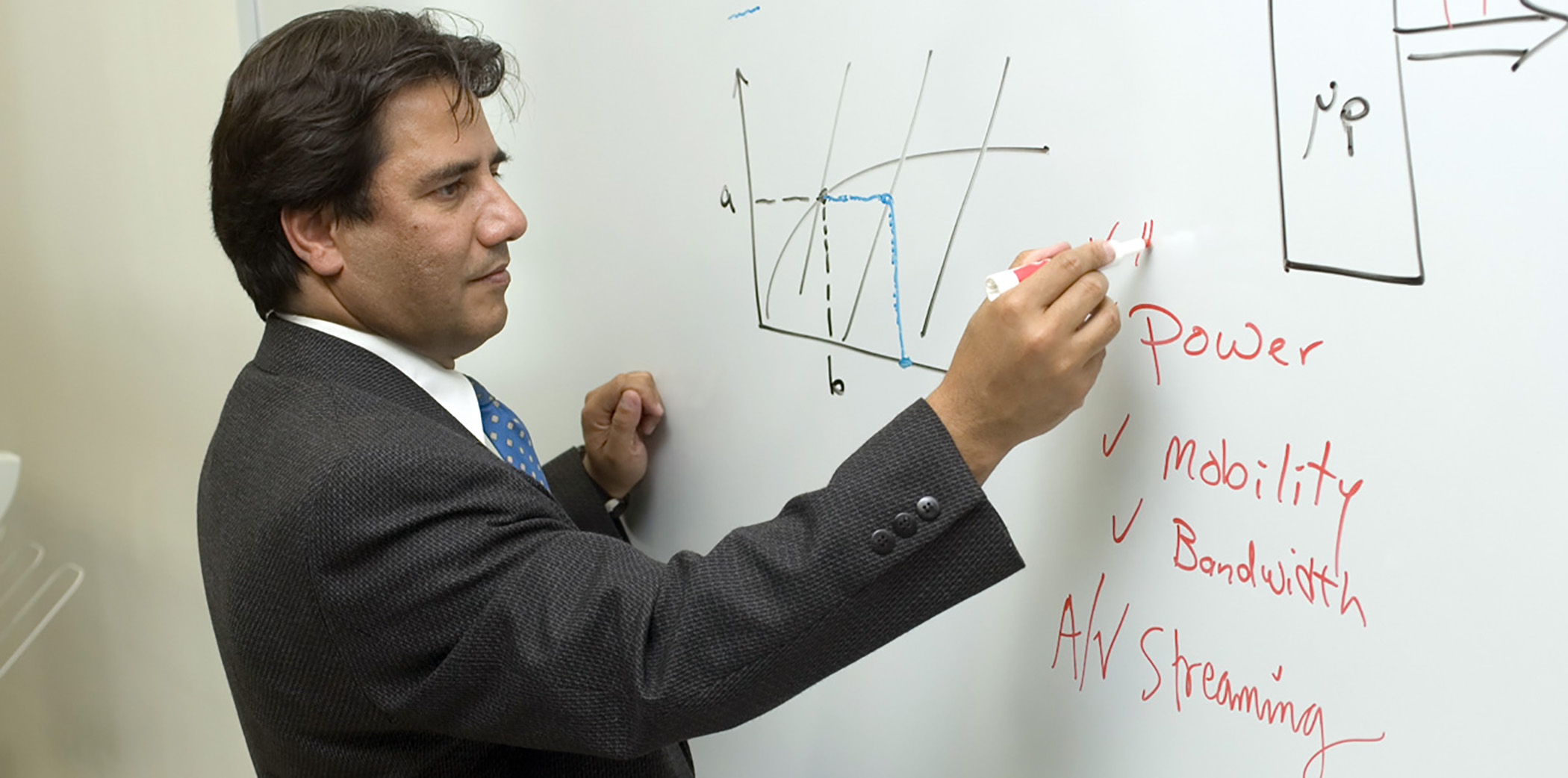 Professor Sharif writing on a whiteboard