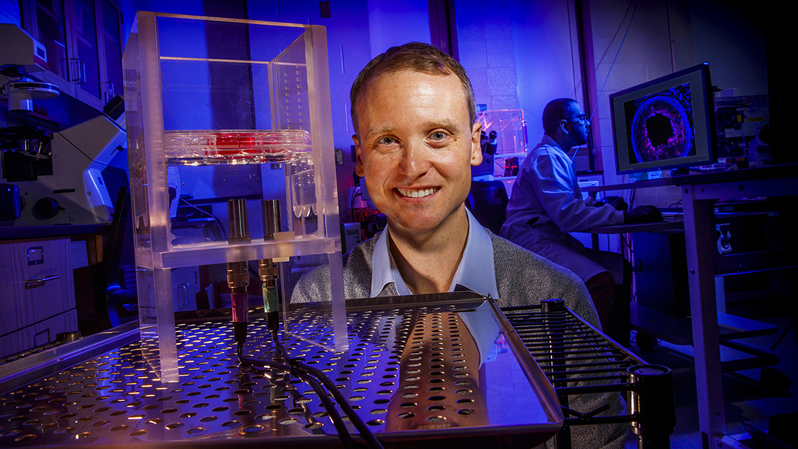 Ryan Pedrigi, assistant professor of mechanical and materials engineering at the University of Nebraska–Lincoln, will use a five-year, $543,000 award from the National Science Foundation's Faculty Early Career Development Program to lay the groundwork for a targeted, noninvasive treatment for atherosclerosis.