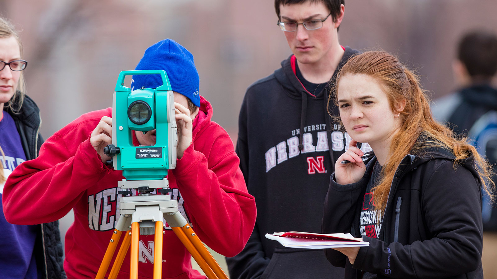Civil and Environmental Engineering students practice their surveying techniques.