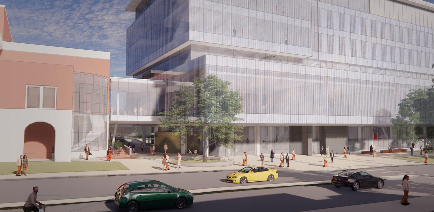 Phase 2 Rendering: The new Kiewit Hall connection with Othmer Hall