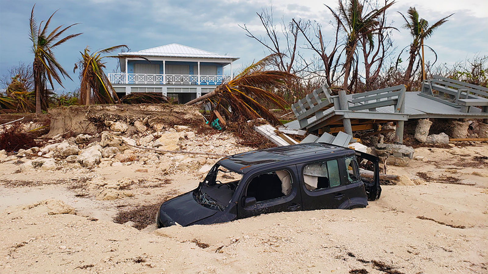 Some structures remained standing amid the devastation caused by Hurricane Dorian when it hit the Bahamas in early September. Nebraska engineering professor Richard L. Wood recently visited the islands to gather data to help understand why. Photo taken at Golden Grove, East Grand Bahama.