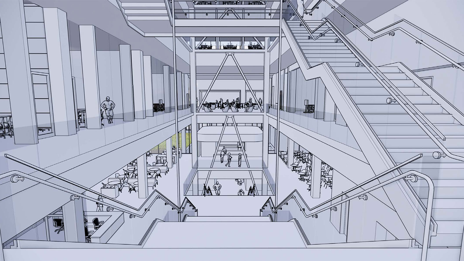 Interior rendering of the new Kiewit Hall.