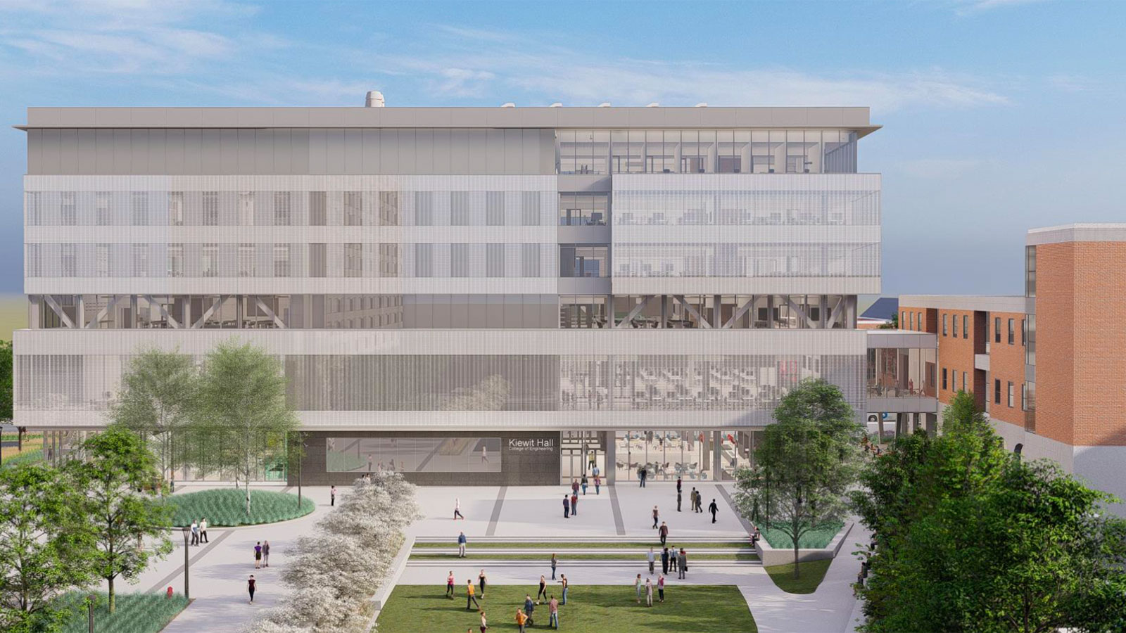 Rendering of Kiewit Hall from 17th Street looking south.