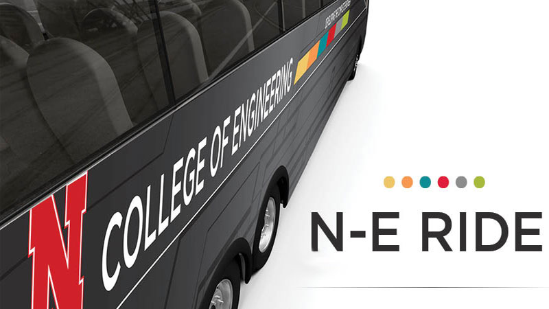 The N-E RIDE shuttle provides free transportation between Othmer Hall in Lincoln and the Peter Kiewit Institute in Omaha for all affiliated College of Engineering and NU system faculty, staff, and students. The shuttle also makes a stop at UNMC, to facilitate interactions between the College of Engineering and UNMC partners.
