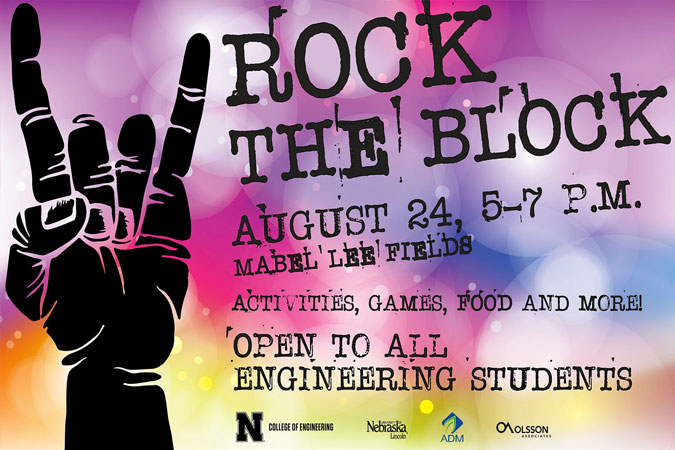 Rock the Block, August 24, 5-7pm, Mabel Lee Fields. Activities, Games, Food and More. Open to all Engineering Students.