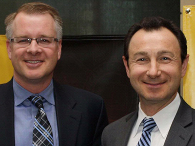 Shane Farritor (left), MME professor, and Dmitry Oleynikov, director of UNMC's Center for Advanced Surgical Technology.