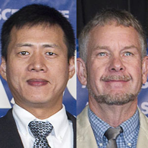 Zhigang Shen (left), associate professor of construction engineering, and Wayne Jensen, associate professor of construction management