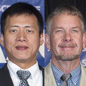 Zhigang Shen (left), associate professor of construction engineering, and Wayne Jensen, associate professor of construction management