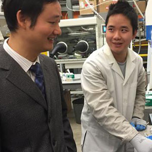 MME assistant professor Jinsong Huang (left) and graduate student Yehau Deng work to create organic transistors in Huang's lab. (Photo by NET News)