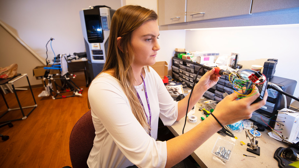 Alex Hruby works on her research project in the Institute for Rehabilitation Science and Engineering at Madonna Rehabilitation Hospital's Lincoln campus. (University Communication)