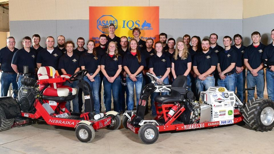 The UNL Quarter Scale Tractor X-Team (left) won the International Quarter Scale Tractor Student Design Competition in May. UNL A-Team is shown at right.