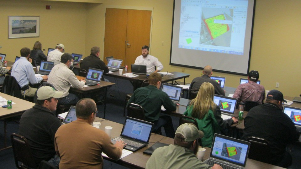 Producers analyze agricultural data during a Nebraska Extension Precision Ag Data Management Workshop. The University of Nebraska-Lincoln is a founding member of the Agricultural Data Coalition