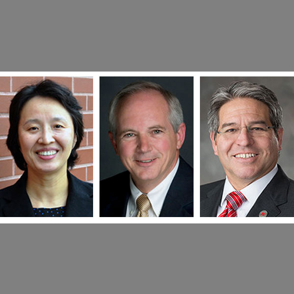 The three finalists for College of Engineering dean are (from left) Mei Wei, David Ashley and Lance C. Pérez.