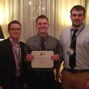 The UNL team of (from left) Geof Wright, Andrew Reinke and Josh Wilson took first place in electrical systems design at the recent Architectural Engineering Institute's student design competition in Milwaukee, Wisconsin.
