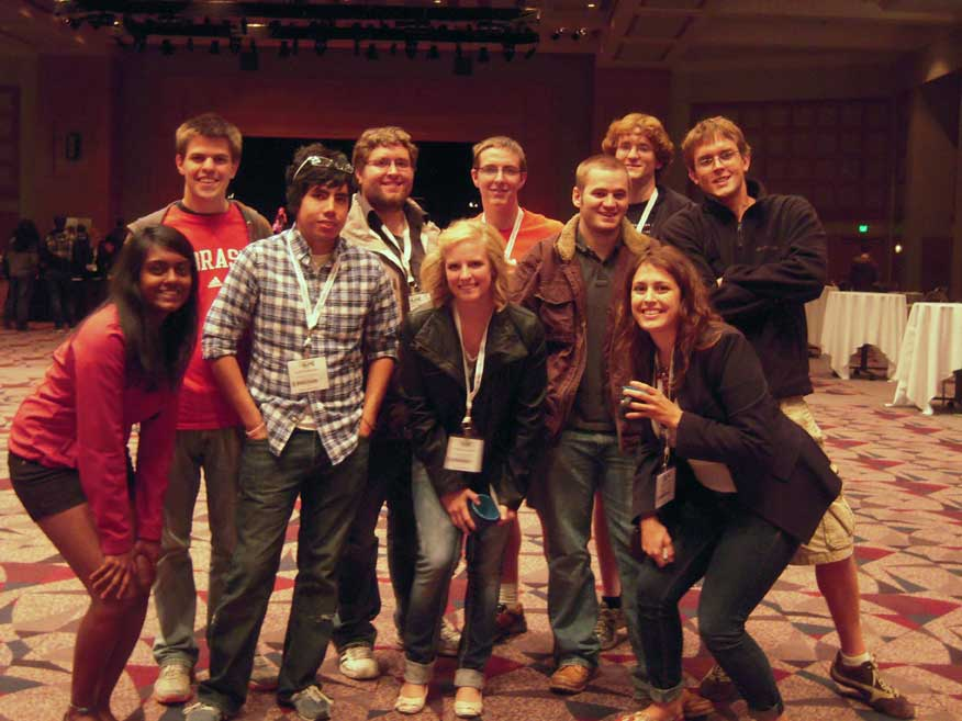 Nebraska Chemical Engineering students pose after winning the national Jeopardy championship.