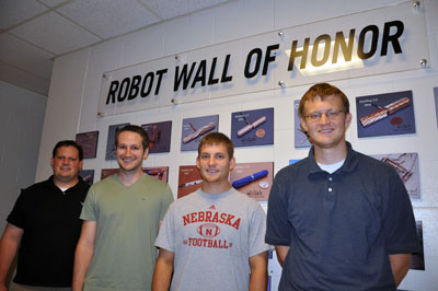 UNL graduate students in the Department of Mechanical & Materials Engineering won first place for their surgical robot entry in the Graduate Student Robotics category at the 2012 ASME Student Mechanism & Robot Design Competition. From left, they are: Joe Bartels of Wauneta, Neb., Jack Mondry of Orlando, Fla.; Eric Markvicka of Ravenna, Neb.; and Tom Frederick of Omaha, Neb.