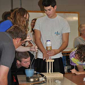 Senior biological systems engineering students prepare their entry before competing in the Rapid Design Challenge on Sept. 11 at Splinter Labs.
