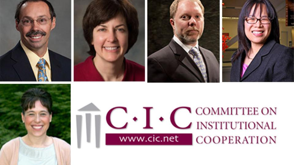 UNL faculty participating in the CIC's Academic Leadership Program are (bottom) Tiffany Heng-Moss, (top row, from left) Steve Goddard, Deb Minter, Mark Riley and Lily Wang.