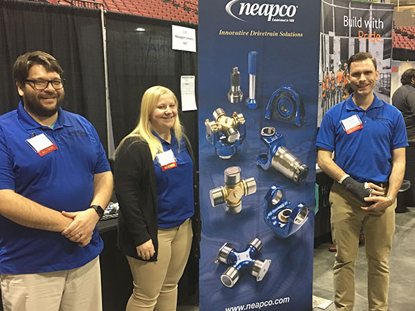 Amber Stettnichs and two of her colleagues from NEAPCO attend the 2018 UNL STEM Career Fair at Pinnacle Bank Arena.