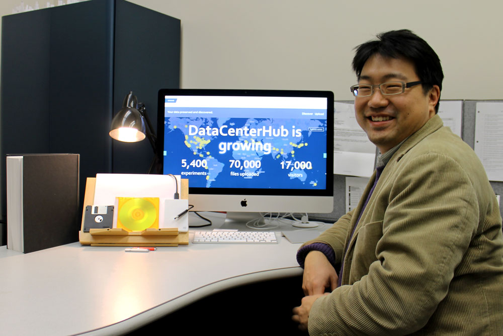 Dr. Chungwook Sim showing the front page of DataCenterHub, an online platform for sharing research data