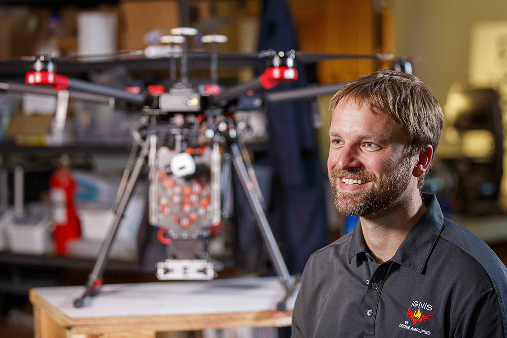 A team led by Carrick Detweiler, associate professor of computer science and engineering, spent five years developing, testing and modifying dozens of drone designs specifically for fire management.