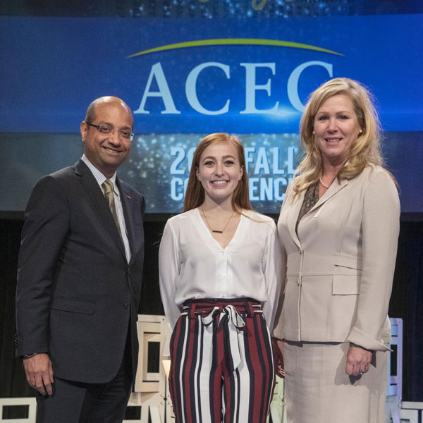 Sarah Drummey (center), a master's student in architectural engineering, was chosen as the 2018 ACEC Scholar of the Year, a scholarship program that gives preference to students who intern at consulting engineering firms.