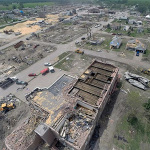 Richard Wood, assistant professor of civil engineering, and his students used a camera-equipped drone to capture this image of the Pilger Middle School shortly after it was struck by a tornado in June 2014. The image looks southwest toward other parts of Pilger.