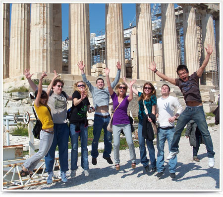 UNL College of Engineering Study Abroad group jumping for a photo.